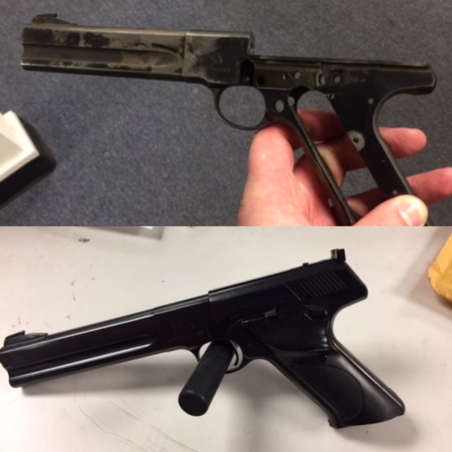 Before and after picture of the restoration of a Colt match target pistol