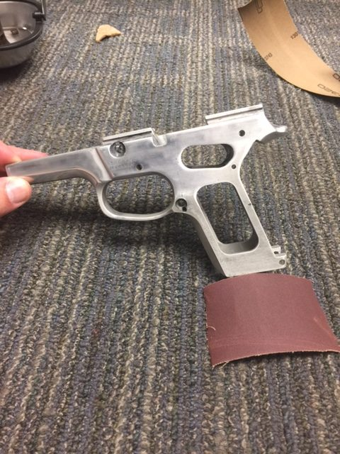 Frame of a Smith & Wesson before Metal Restoration