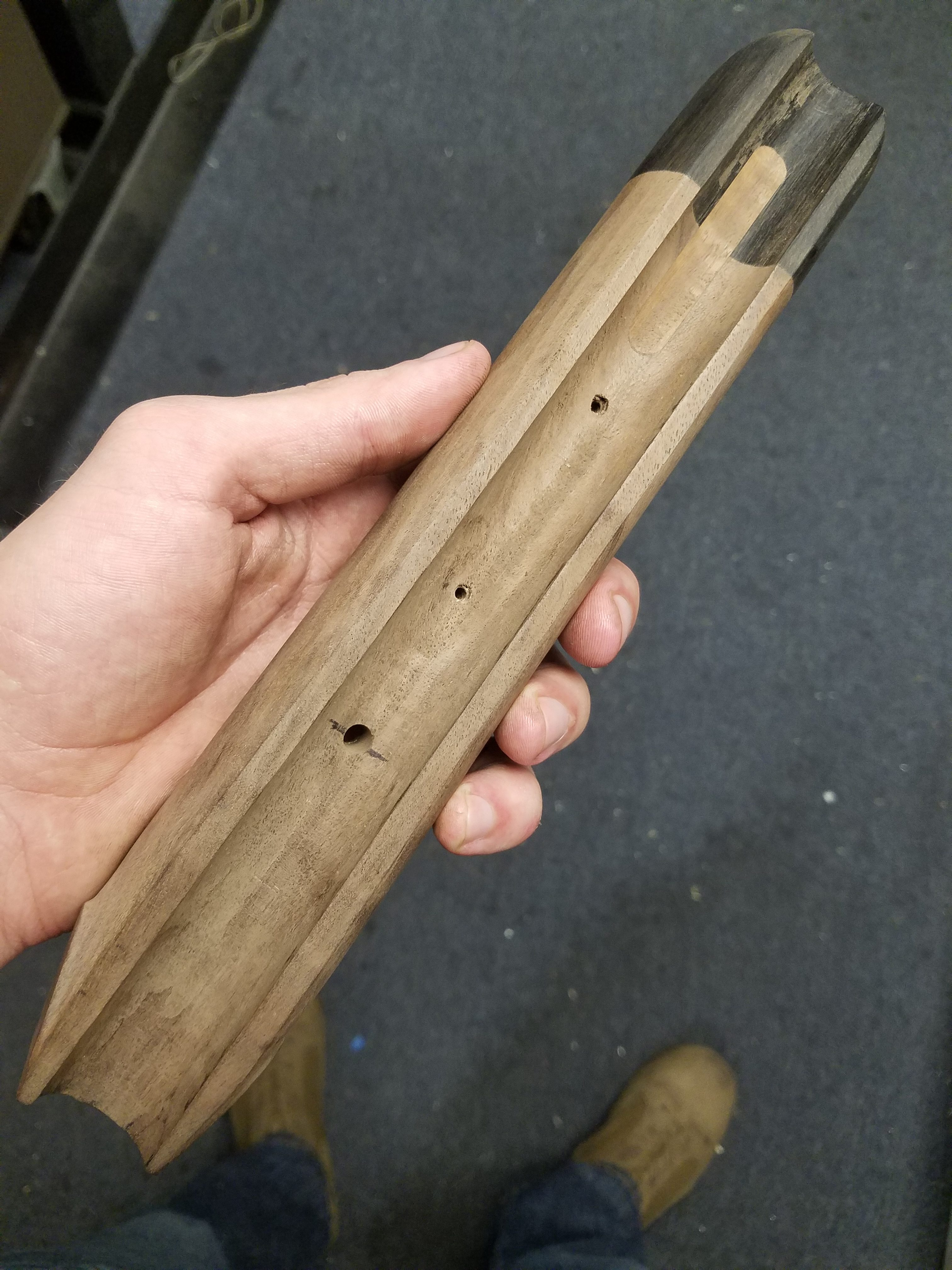 Forend shaping completed on the shotgun