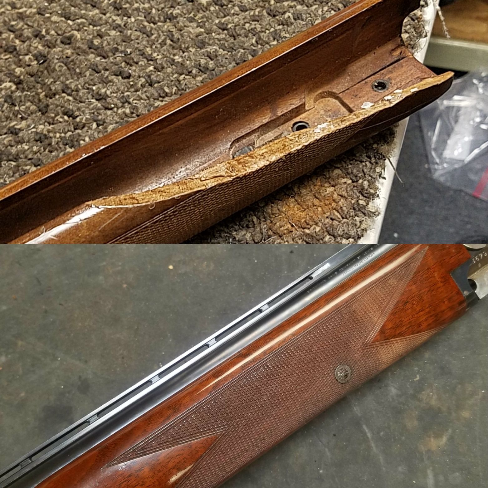 Browning Citori shotgun broken forend repaired and refinished to factory high gloss