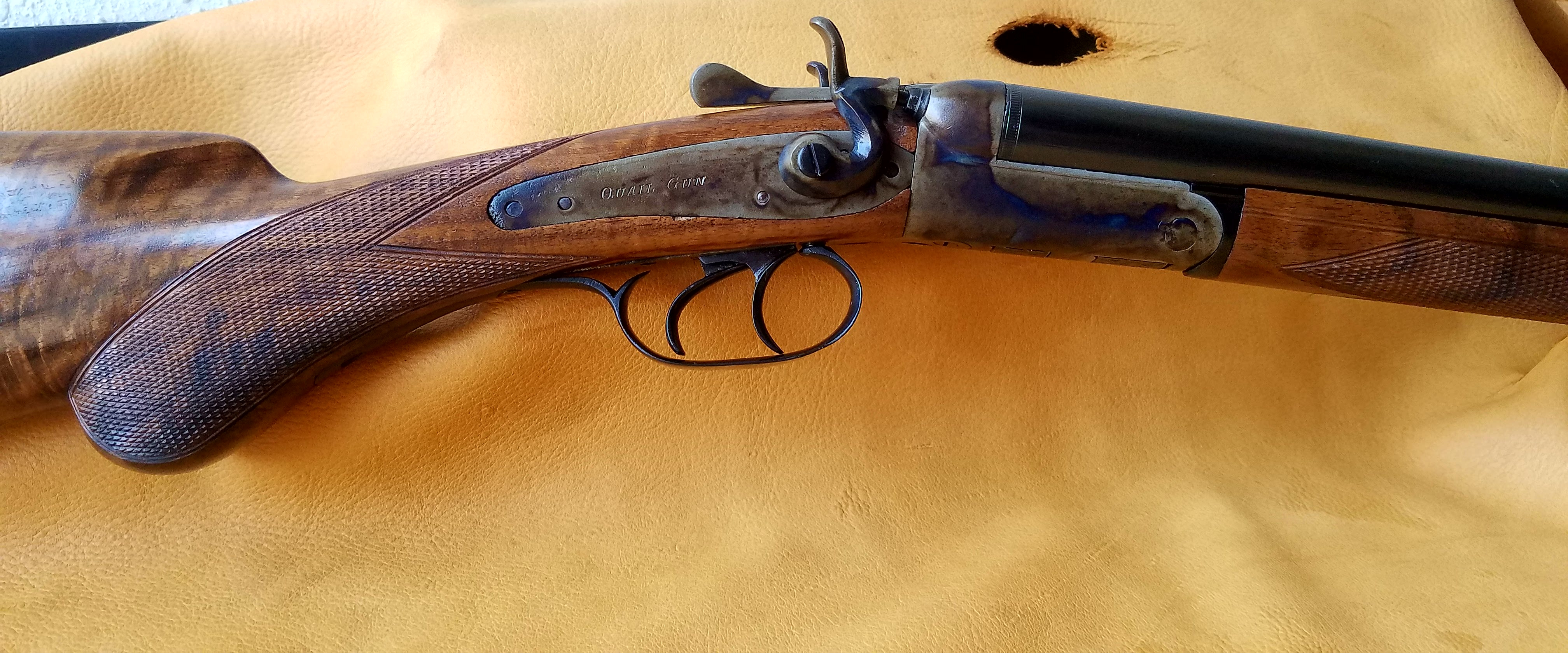 Belgium Quail Gun looking at right side of Color Case