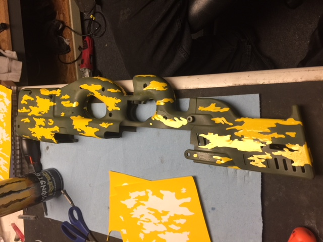 doing stencil work for a custom camo project
