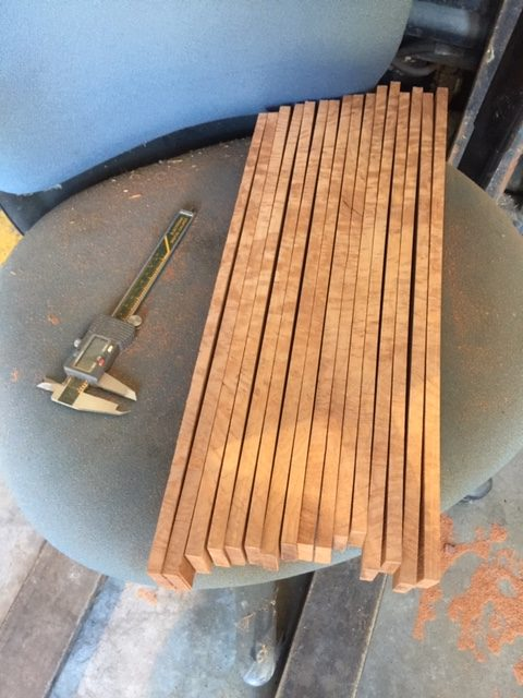 Board has been cut into sections to make grips